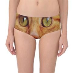 Cat Red Cute Mackerel Tiger Sweet Mid-Waist Bikini Bottoms