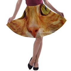 Cat Red Cute Mackerel Tiger Sweet A-line Skater Skirt