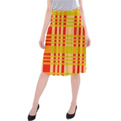 Check Pattern Midi Beach Skirt