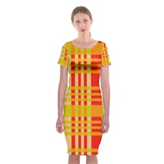 Check Pattern Classic Short Sleeve Midi Dress