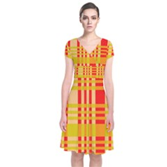 Check Pattern Short Sleeve Front Wrap Dress