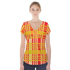 Check Pattern Short Sleeve Front Detail Top