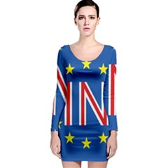 Britain Eu Remain Long Sleeve Bodycon Dress