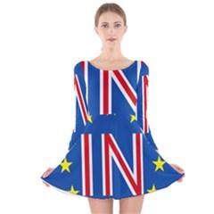 Britain Eu Remain Long Sleeve Velvet Skater Dress