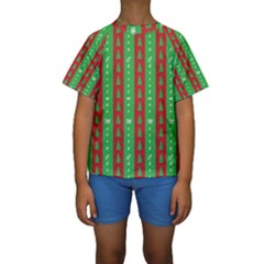 Christmas Tree Background Kids  Short Sleeve Swimwear