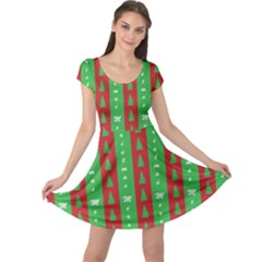 Christmas Tree Background Cap Sleeve Dresses