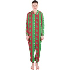 Christmas Tree Background Hooded Jumpsuit (ladies)