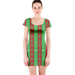 Christmas Tree Background Short Sleeve Bodycon Dress