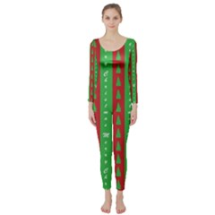 Christmas Tree Background Long Sleeve Catsuit