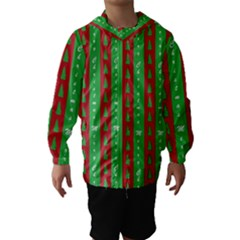 Christmas Tree Background Hooded Wind Breaker (Kids)