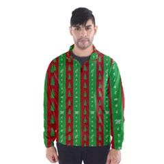 Christmas Tree Background Wind Breaker (Men)
