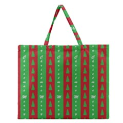 Christmas Tree Background Zipper Large Tote Bag