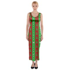 Christmas Tree Background Fitted Maxi Dress