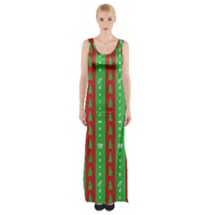 Christmas Tree Background Maxi Thigh Split Dress