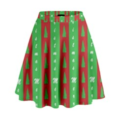 Christmas Tree Background High Waist Skirt