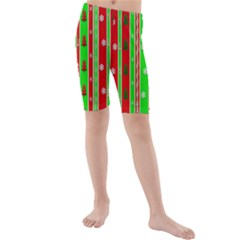 Christmas Paper Pattern Kids  Mid Length Swim Shorts