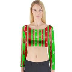 Christmas Paper Pattern Long Sleeve Crop Top