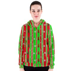 Christmas Paper Pattern Women s Zipper Hoodie