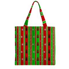 Christmas Paper Pattern Zipper Grocery Tote Bag