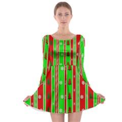 Christmas Paper Pattern Long Sleeve Skater Dress