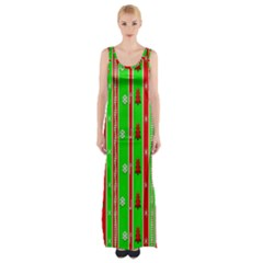 Christmas Paper Pattern Maxi Thigh Split Dress
