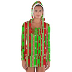 Christmas Paper Pattern Women s Long Sleeve Hooded T-shirt