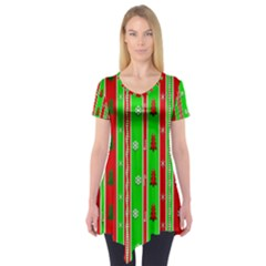 Christmas Paper Pattern Short Sleeve Tunic