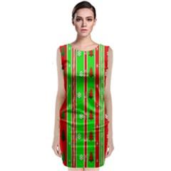 Christmas Paper Pattern Classic Sleeveless Midi Dress