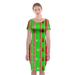 Christmas Paper Pattern Classic Short Sleeve Midi Dress