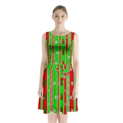 Christmas Paper Pattern Sleeveless Chiffon Waist Tie Dress