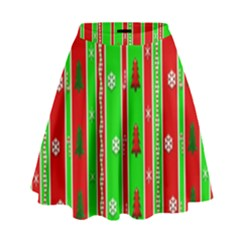 Christmas Paper Pattern High Waist Skirt