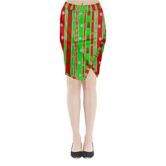 Christmas Paper Pattern Midi Wrap Pencil Skirt