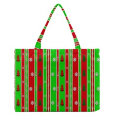 Christmas Paper Pattern Medium Zipper Tote Bag
