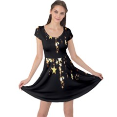 Christmas Star Advent Background Cap Sleeve Dresses