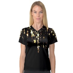 Christmas Star Advent Background Women s V-Neck Sport Mesh Tee