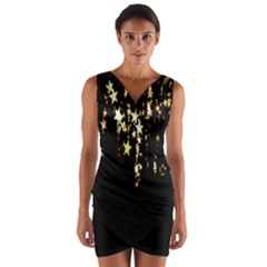 Christmas Star Advent Background Wrap Front Bodycon Dress