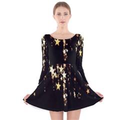 Christmas Star Advent Background Long Sleeve Velvet Skater Dress