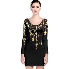 Christmas Star Advent Background Long Sleeve Velvet Bodycon Dress