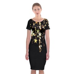 Christmas Star Advent Background Classic Short Sleeve Midi Dress