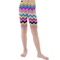 Chevrons Pattern Art Background Kids  Mid Length Swim Shorts