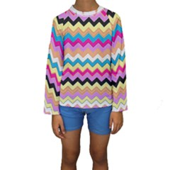 Chevrons Pattern Art Background Kids  Long Sleeve Swimwear