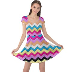 Chevrons Pattern Art Background Cap Sleeve Dresses