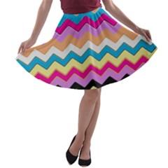 Chevrons Pattern Art Background A Line Skater Skirt
