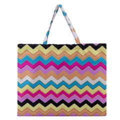 Chevrons Pattern Art Background Zipper Large Tote Bag