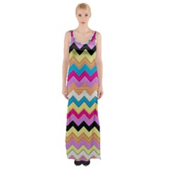 Chevrons Pattern Art Background Maxi Thigh Split Dress