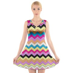 Chevrons Pattern Art Background V Neck Sleeveless Skater Dress