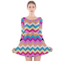 Chevrons Pattern Art Background Long Sleeve Velvet Skater Dress