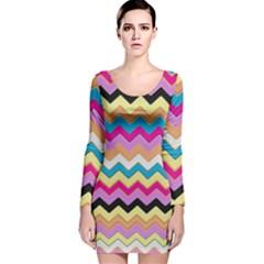 Chevrons Pattern Art Background Long Sleeve Velvet Bodycon Dress