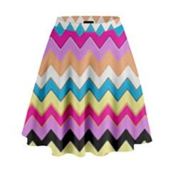 Chevrons Pattern Art Background High Waist Skirt