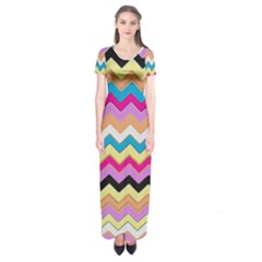 Chevrons Pattern Art Background Short Sleeve Maxi Dress